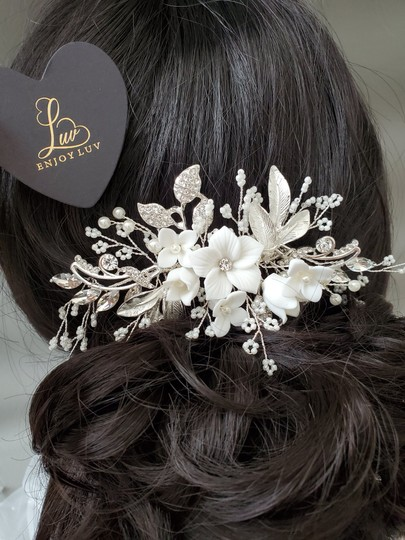 Silver New Flower Headpiece Comb Clip Pin Veil Hair Accessory Image 3
