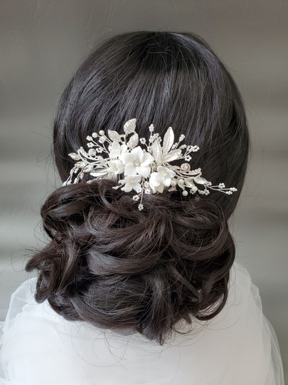 Silver New Flower Headpiece Comb Clip Pin Veil Hair Accessory Image 5