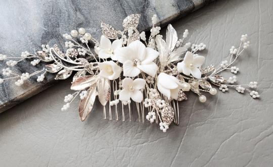 Silver New Flower Headpiece Comb Clip Pin Veil Hair Accessory Image 6