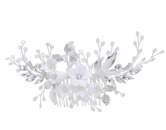 Silver New Flower Headpiece Comb Clip Pin Veil Hair Accessory Image 7