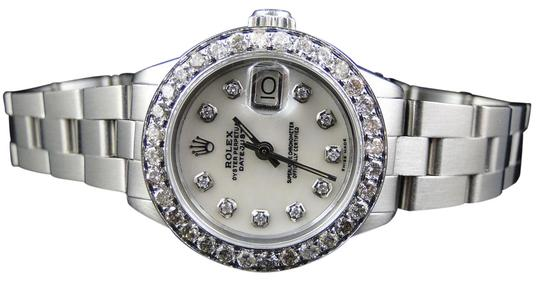Preload https://img-static.tradesy.com/item/25795421/rolex-stainless-steel-ladies-datejust-26mm-oyster-white-mop-dial-diamond-25-ct-watch-0-1-540-540.jpg