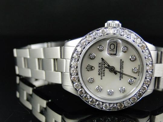 Rolex Ladies Datejust 26MM Oyster White MOP Dial Diamond 2.5 Ct Image 4
