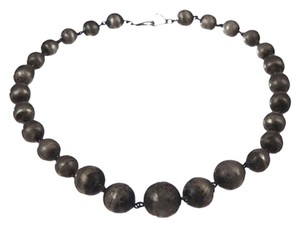 sterling silver Art Deco Graduated Ball Bead Necklace
