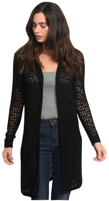 Preload https://img-static.tradesy.com/item/25795464/black-hooded-open-knit-cardigan-size-8-m-0-1-650-650.jpg