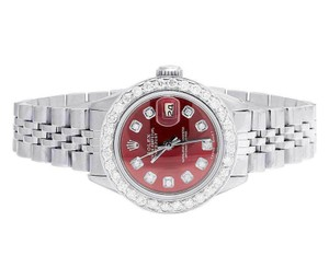 Rolex Datejust 26MM Oyster Jubilee Red Dial Diamond 2.0 Ct