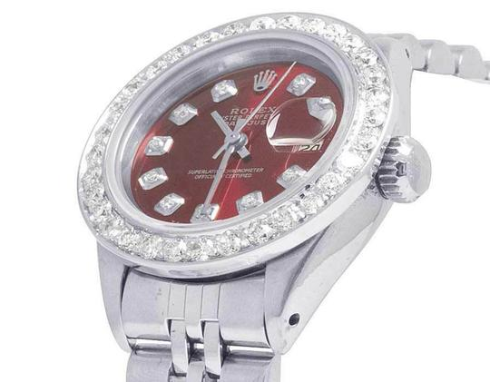Rolex Datejust 26MM Oyster Jubilee Red Dial Diamond 2.0 Ct Image 2