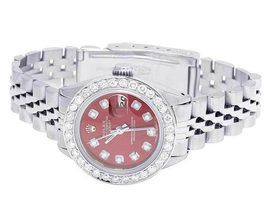 Rolex Datejust 26MM Oyster Jubilee Red Dial Diamond 2.0 Ct Image 3