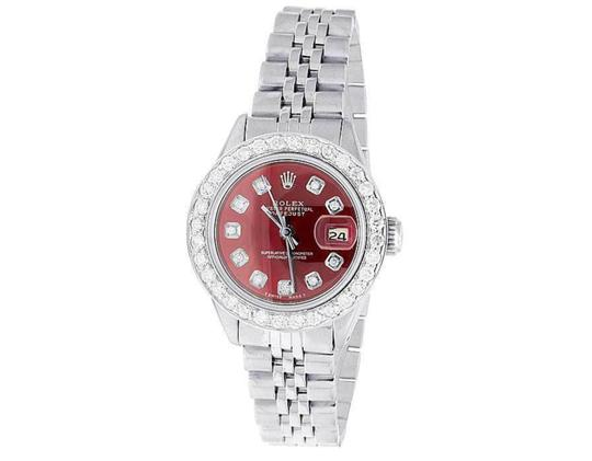 Rolex Datejust 26MM Oyster Jubilee Red Dial Diamond 2.0 Ct Image 6