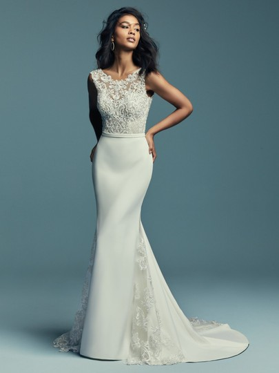 Maggie Sottero Ivory with Pewter Accent Aldora Crepe Jayleen Modern Wedding Dress Size 10 (M) Image 1