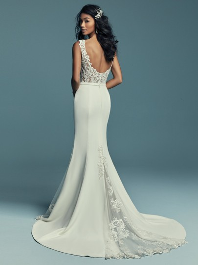 Maggie Sottero Ivory with Pewter Accent Aldora Crepe Jayleen Modern Wedding Dress Size 10 (M) Image 2
