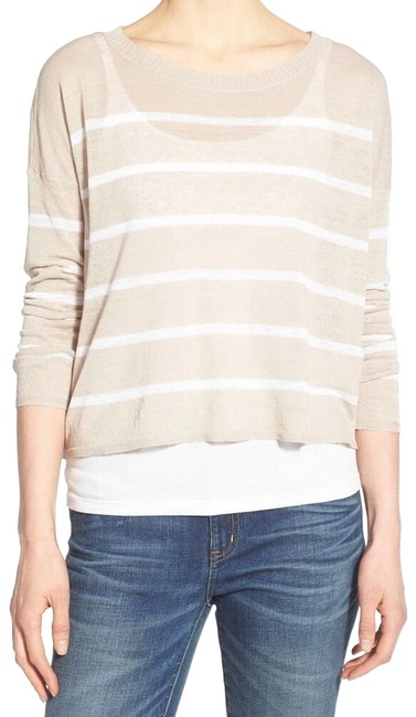 Preload https://img-static.tradesy.com/item/25795512/eileen-fisher-natural-and-stripe-knit-beigewhite-sweater-0-1-650-650.jpg