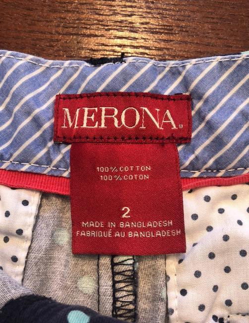Merona Bermuda Shorts navy with teal/green polka dots Image 4