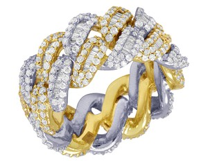 Jewelry Unlimited 10K Two Tone Gold Real Diamond Baguette Cuban Ring Band 12MM 4.5 CT