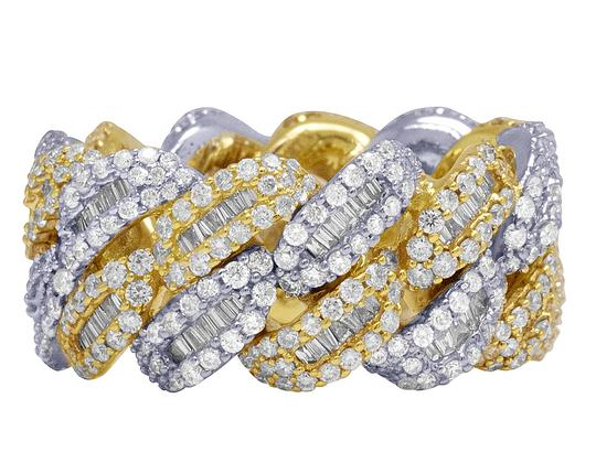 Jewelry Unlimited 10K Two Tone Gold Real Diamond Baguette Cuban Ring Band 12MM 4.5 CT Image 1