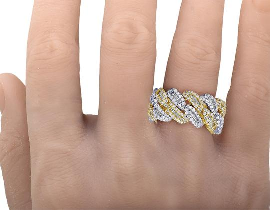 Jewelry Unlimited 10K Two Tone Gold Real Diamond Baguette Cuban Ring Band 12MM 4.5 CT Image 2