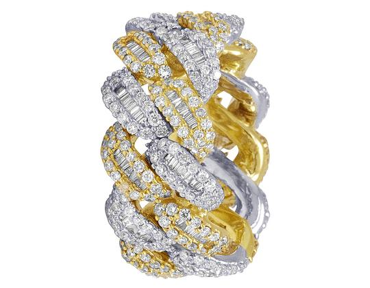Jewelry Unlimited 10K Two Tone Gold Real Diamond Baguette Cuban Ring Band 12MM 4.5 CT Image 3