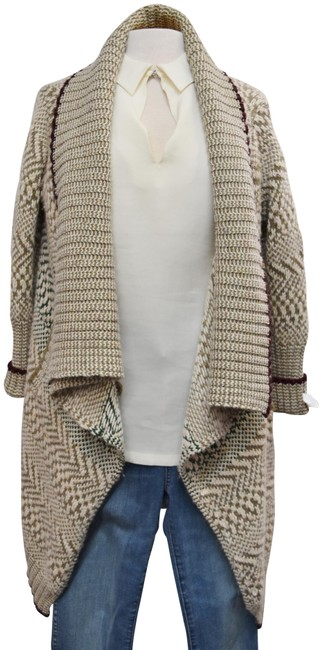 Preload https://img-static.tradesy.com/item/25795607/yigal-azrouel-tan-cream-and-brown-knit-small-cardigan-size-6-s-0-1-650-650.jpg