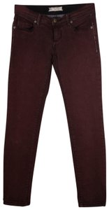 Free People Distressed Factory Faded Ankle Length Color Denim Skinny Jeans-Distressed