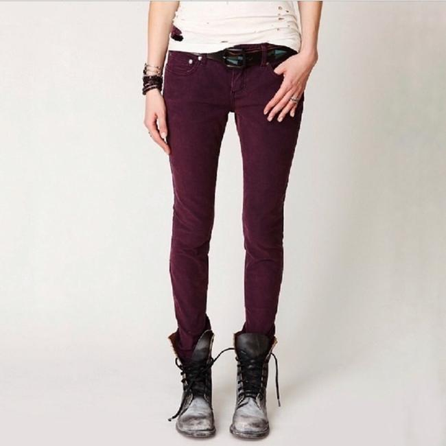 Free People Distressed Factory Faded Ankle Length Color Denim Skinny Jeans-Distressed Image 7