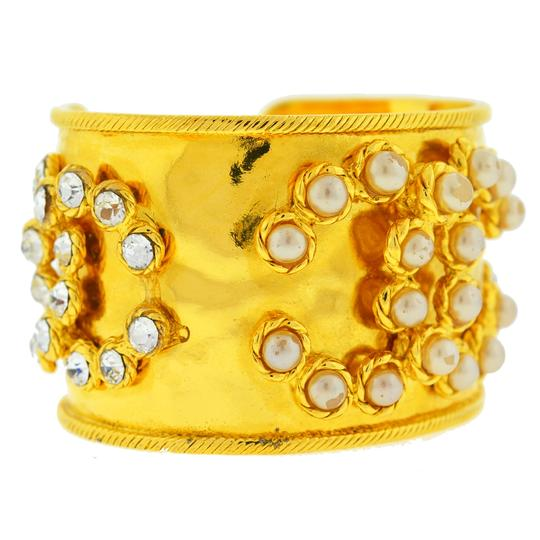 Chanel CHANEL Gold Tone Pearl & Crystal Wide Cuff Bracelet Image 1