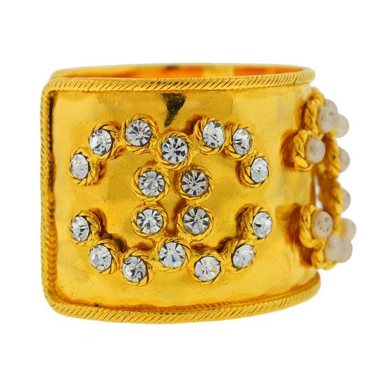 Chanel CHANEL Gold Tone Pearl & Crystal Wide Cuff Bracelet Image 2