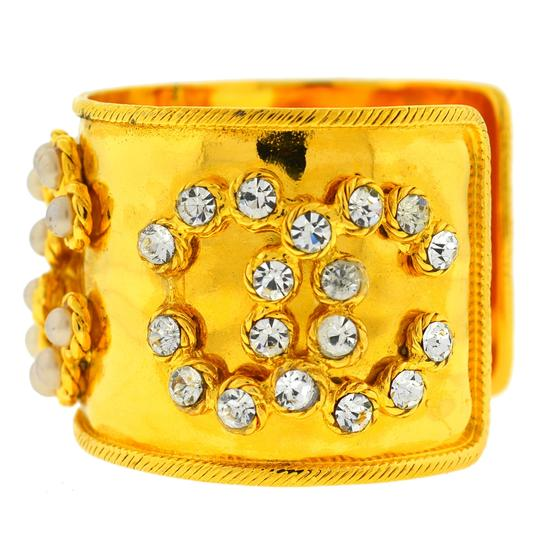 Chanel CHANEL Gold Tone Pearl & Crystal Wide Cuff Bracelet Image 3