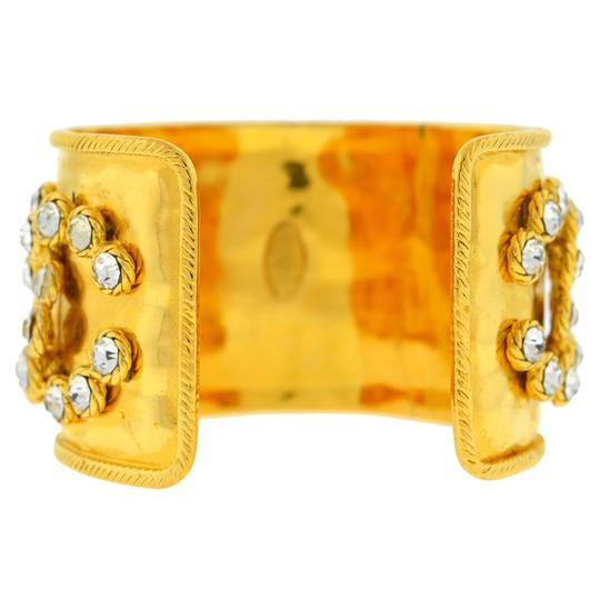 Chanel CHANEL Gold Tone Pearl & Crystal Wide Cuff Bracelet Image 4