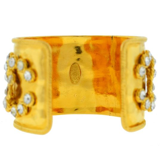 Chanel CHANEL Gold Tone Pearl & Crystal Wide Cuff Bracelet Image 5