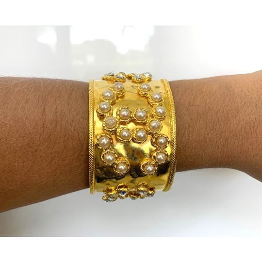 Chanel CHANEL Gold Tone Pearl & Crystal Wide Cuff Bracelet Image 7