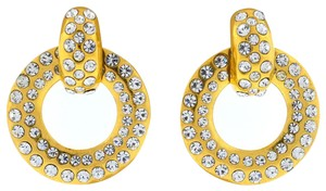 Chanel Chanel Gold Tone Crystal Drop Earrings