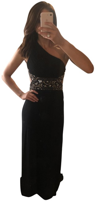 Preload https://img-static.tradesy.com/item/25795739/blondie-nites-black-david-s-bridal-formal-wear-one-shoulder-long-formal-dress-size-4-s-0-1-650-650.jpg