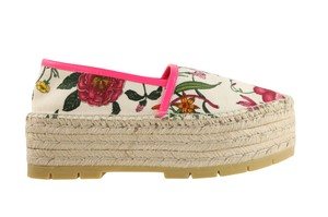 Gucci Canvas Floral Leather Rubber Multi Wedges