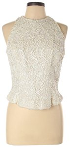 Carmen Marc Valvo Silk Beaded Lace Embroidered Halter Top Ivory