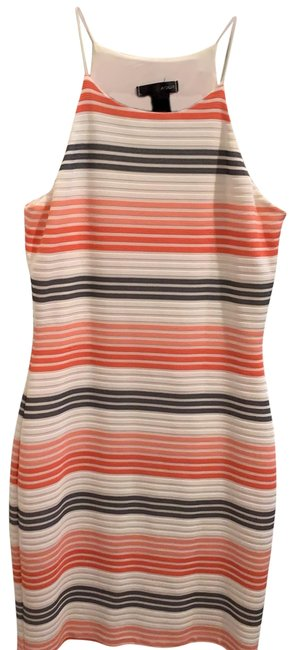 Item - Coral White Blue Pink Blue Stripes Short Night Out Dress Size 4 (S)