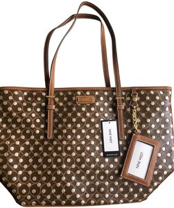 Nine West Leather Polka Dots Tote in Brown
