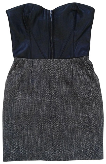 Item - Black Grey Leather Bustier Corset Wool Tweed Short Night Out Dress Size 4 (S)