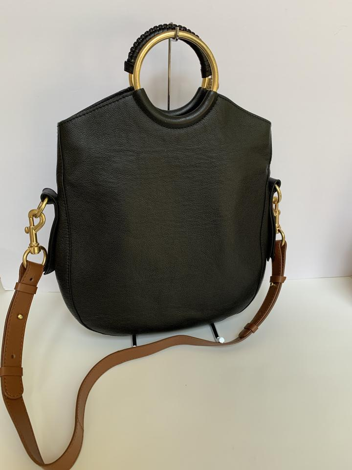 5348e3b8 See by Chloé Monroe Ring Handle Convertible Black Leather Shoulder Bag 49%  off retail