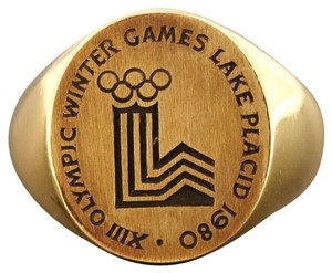 Cartier 1980 Cartier Solid 18k Yellow Gold Olympic Winter Games Signet Ring