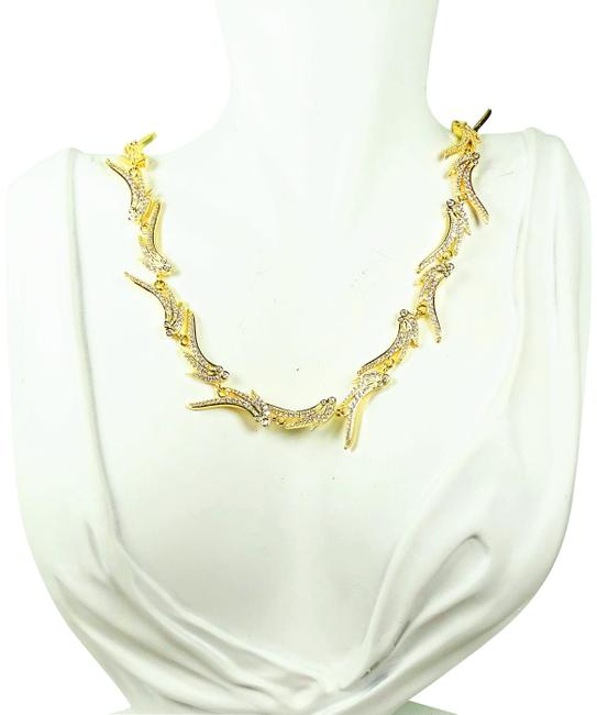 Item - Gold Cleo Plated Cubic Zirconia Collar Necklace
