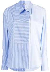 Stella McCartney Zip Button Two-tone Cotton Top Blue