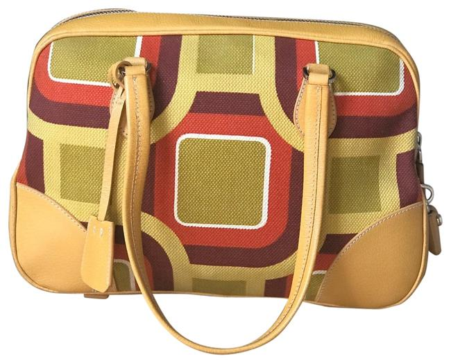 Item - Canapa Soho St. Bowler Yellow Multi Canvas Leather Baguette
