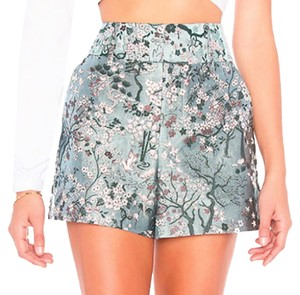 Alice + Olivia Brocade Shimmer Sparkle Special Occ Dress Shorts Blue