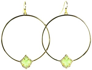 Kendra Scott KENDRA SCOTT Elberta Gold Plated Mint Chalcedony Hoop Earrings