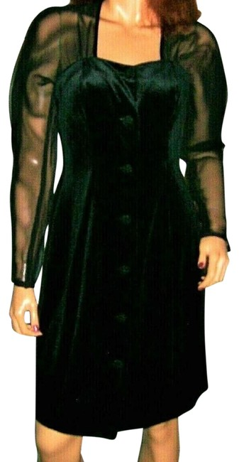 Item - Black Sheer Velveteen 7/8 Short Cocktail Dress Size 8 (M)