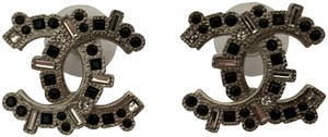 Chanel Iconic Large CC Logo Clear Black Crystal Silver Tone Stud Earrings