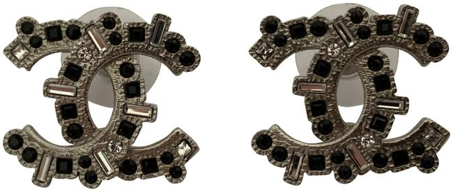 Item - Silver Iconic Large Cc Logo Clear Black Crystal Tone Stud Earrings