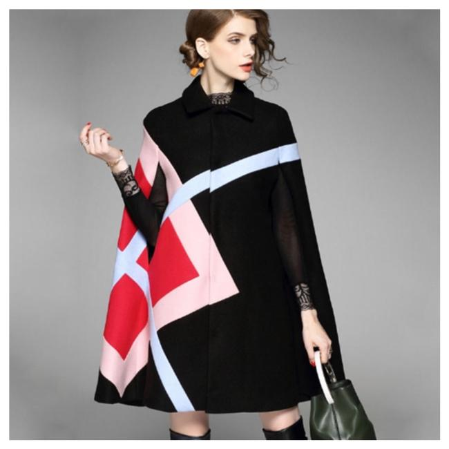 Item - Black Red Pink Cashmere Blend Abstract Poncho/Cape Size OS (one size)