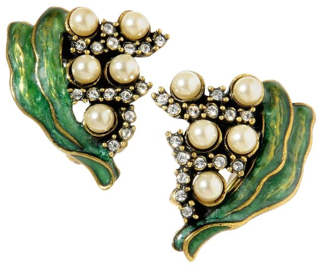 Item - Multi-color Lily Of The Valley Enamel Faux Pearls Earrings