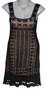 Moda International 'crochet' Cocktail Super Cute Seperate / Which Is Knee Length Mid-thigh Under Blend Of Cotton And Ramie Dress