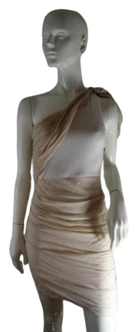 Item - Beige & White S/P Short Night Out Dress Size Petite 4 (S)